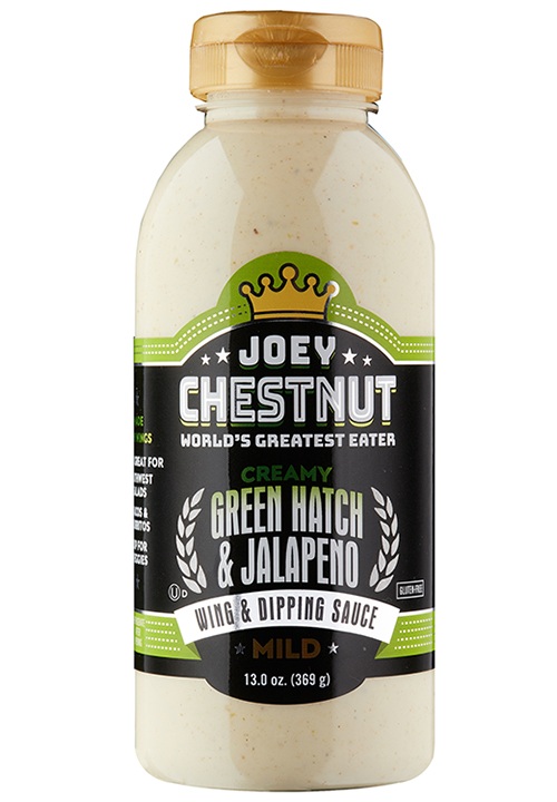 Joey Chestnut Eating Creamy Green Hatch & Jalapeno Wing & Dipping Sauce